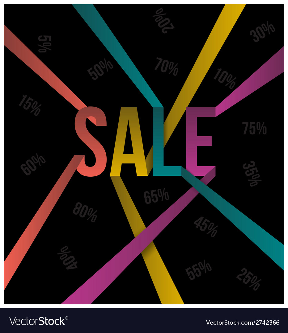 Sale text color ribbon style vector | Price: 1 Credit (USD $1)