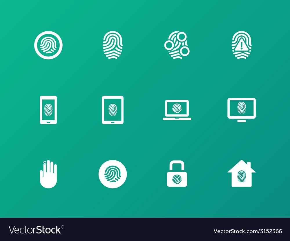 Security fingerprint icons on green background vector | Price: 1 Credit (USD $1)