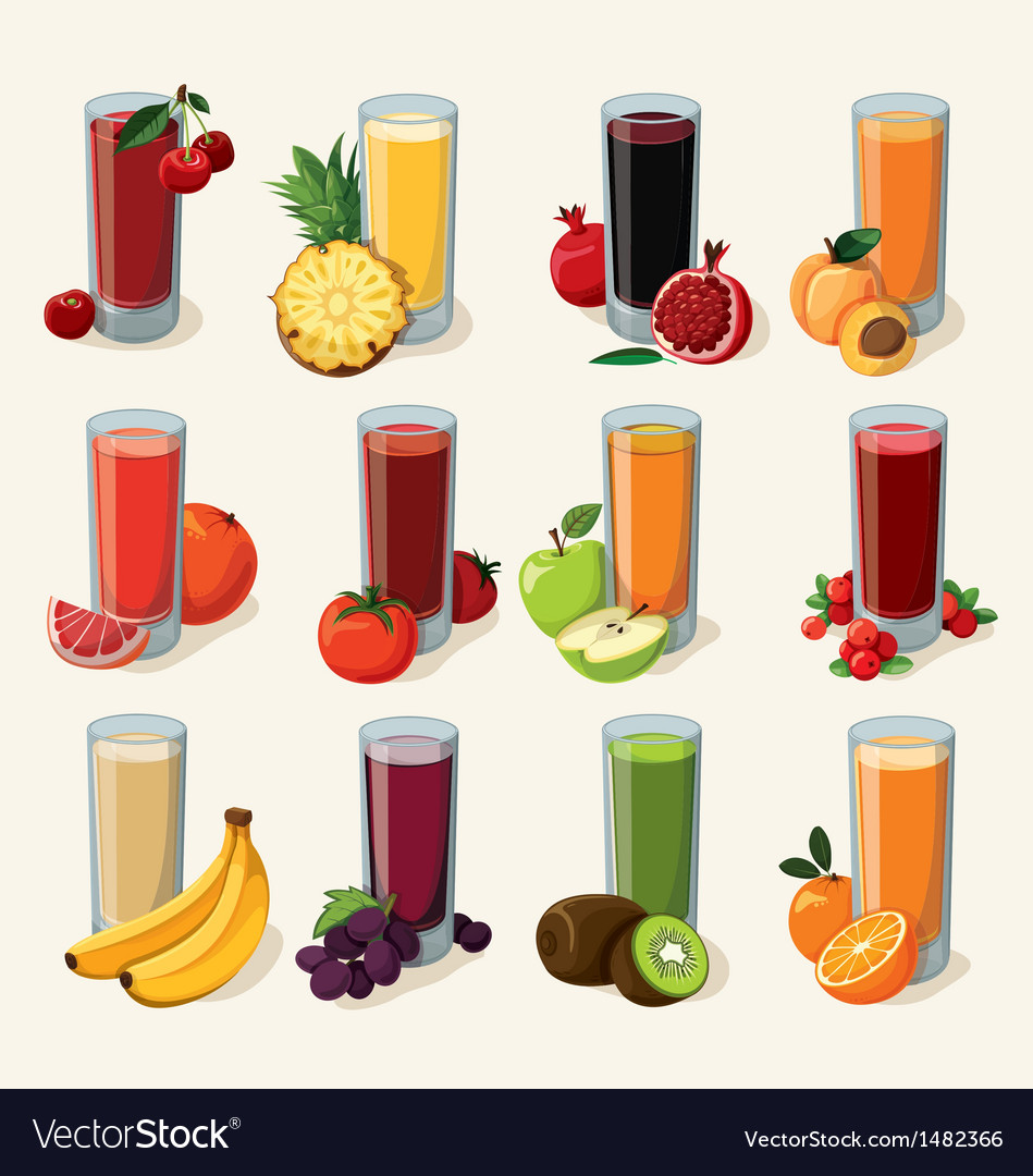 Set of tasty fresh squeezed juices vector | Price: 3 Credit (USD $3)