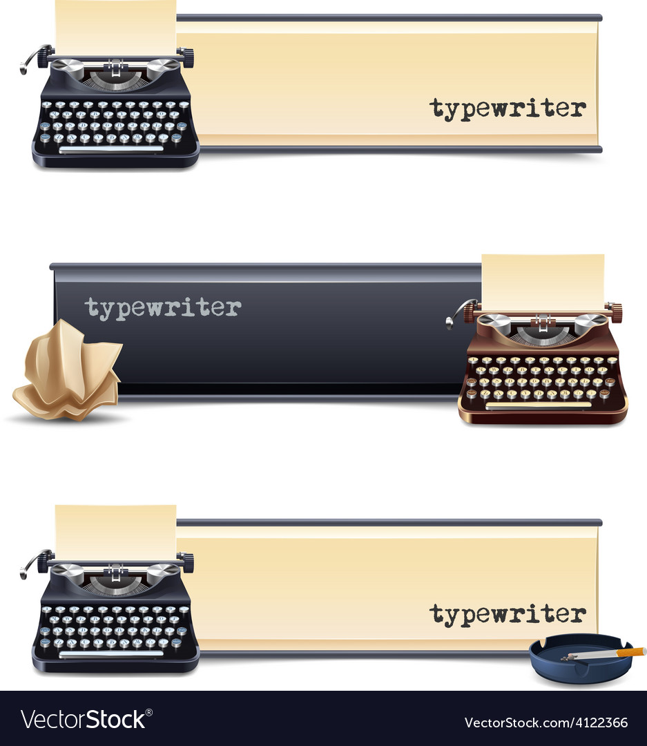 Typewriter banners set vector | Price: 1 Credit (USD $1)