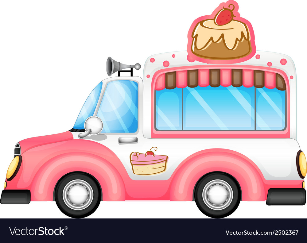 A pink vehicle selling cakes vector | Price: 1 Credit (USD $1)