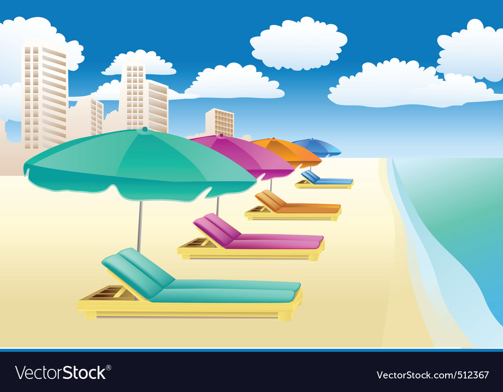 Beach lounger vector | Price: 1 Credit (USD $1)