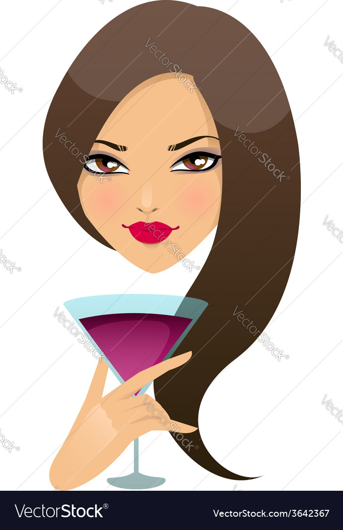 Beautiful girl with cocktail in a glass vector | Price: 1 Credit (USD $1)