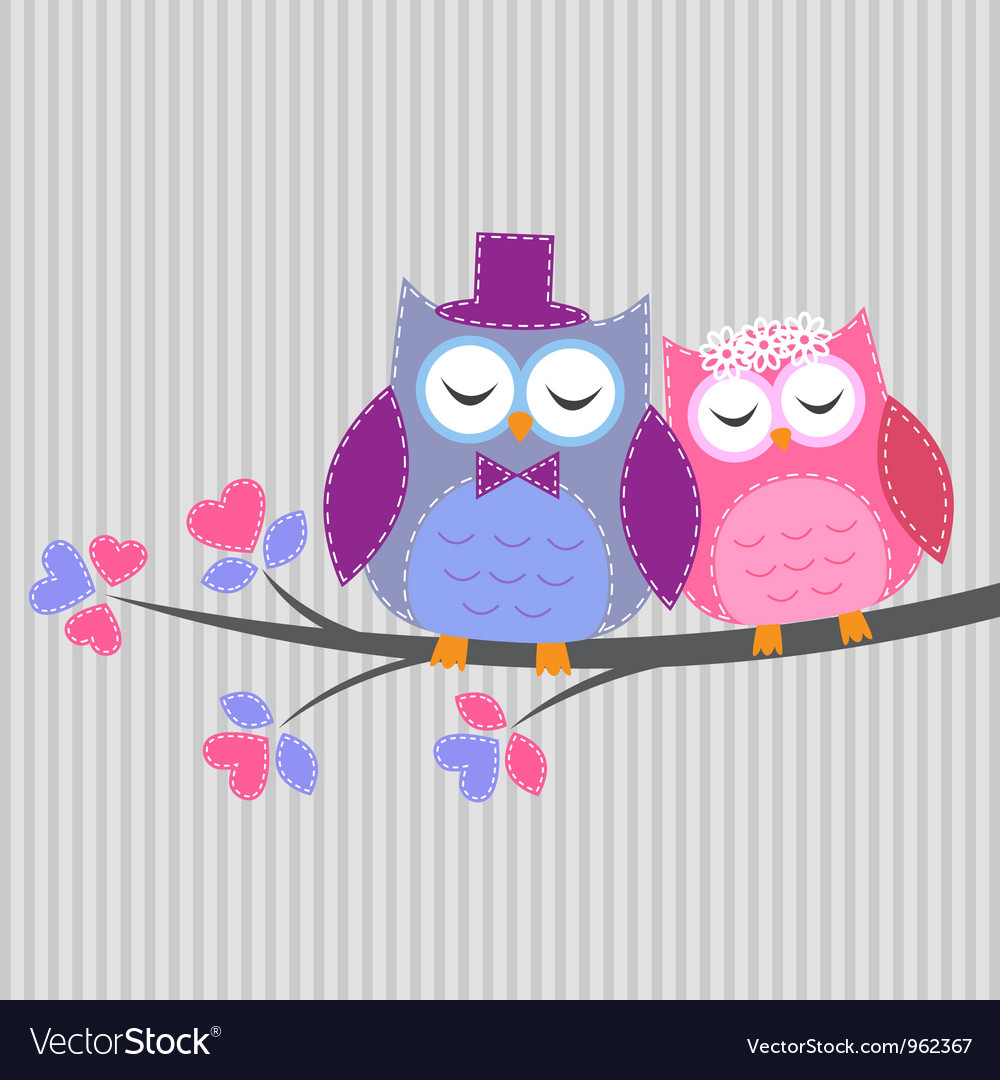 Couple owls in love yle vector | Price: 1 Credit (USD $1)