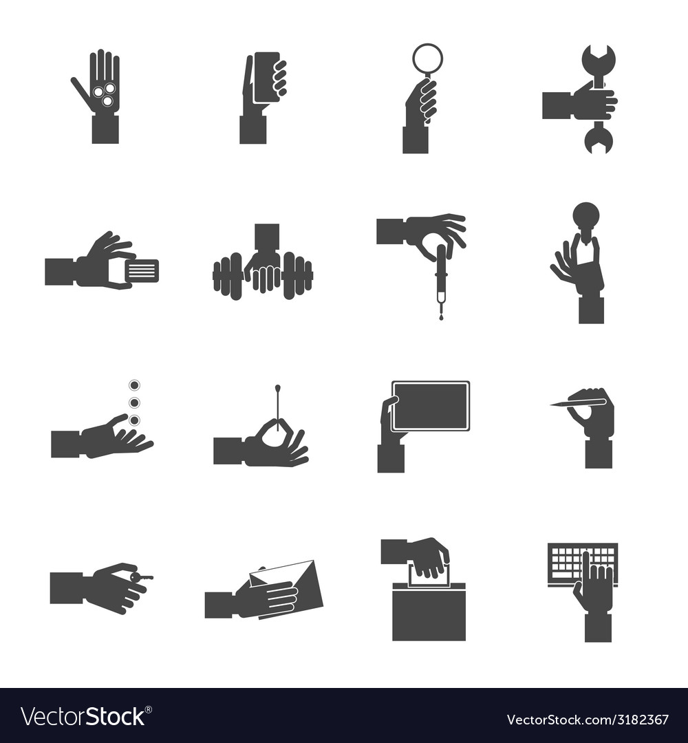 Hand holding objects black set vector   Price: 1 Credit (USD $1)