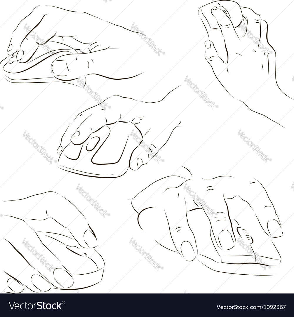 Hands with a computer mouse vector | Price: 1 Credit (USD $1)