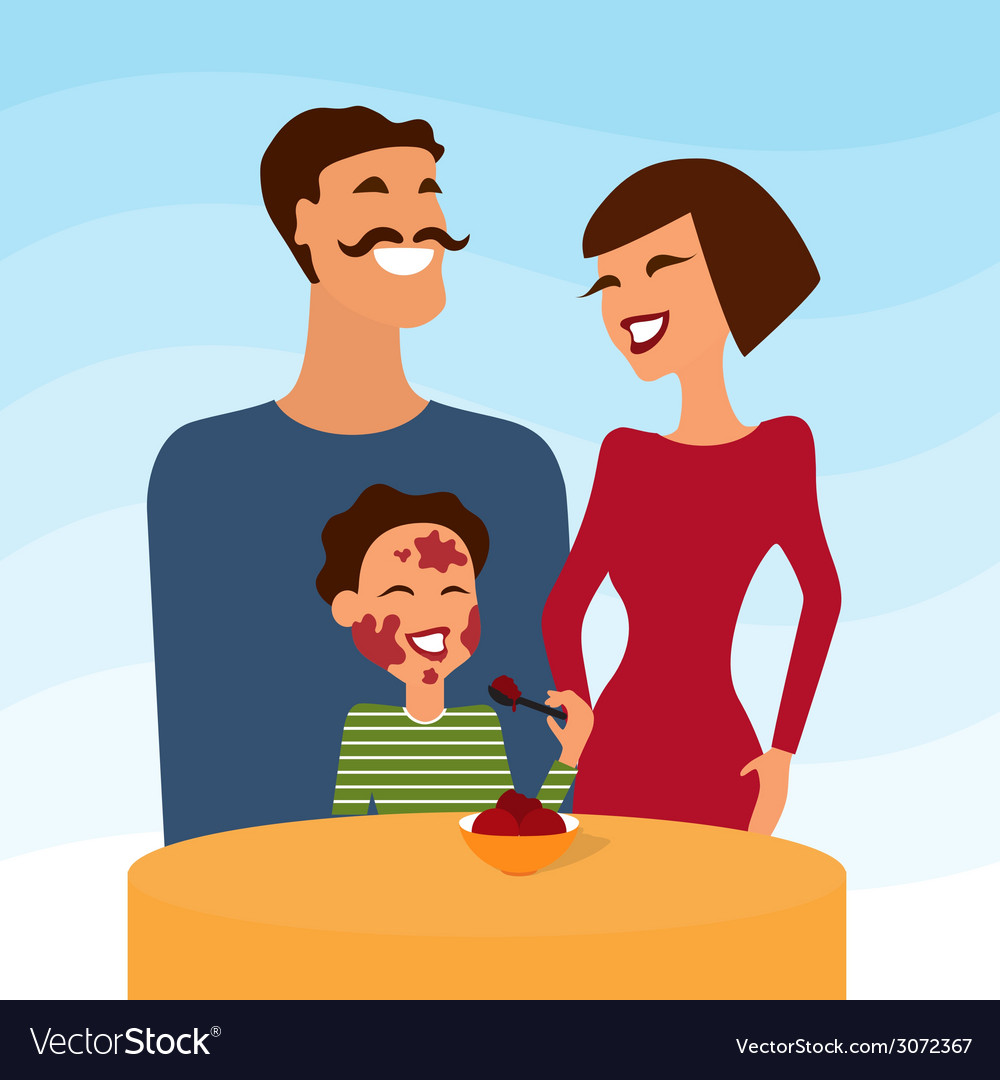 Happy family mother father and son eating icecream vector | Price: 1 Credit (USD $1)