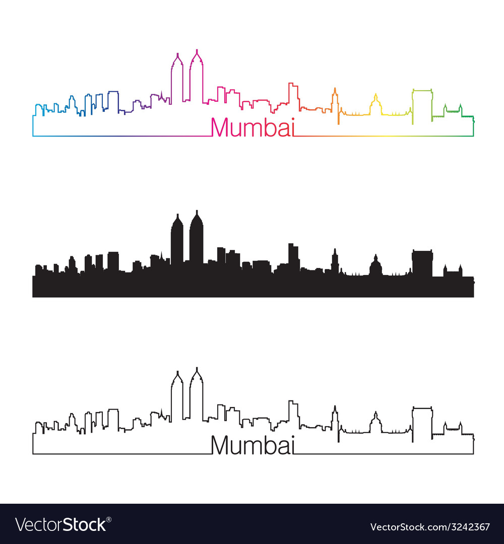Mumbai skyline linear style with rainbow vector | Price: 1 Credit (USD $1)