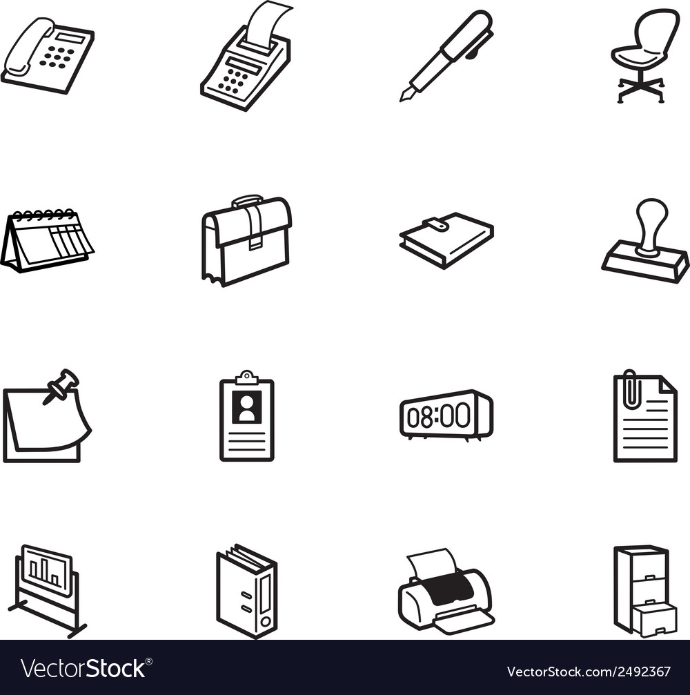 Office element black icon set on white background vector | Price: 1 Credit (USD $1)