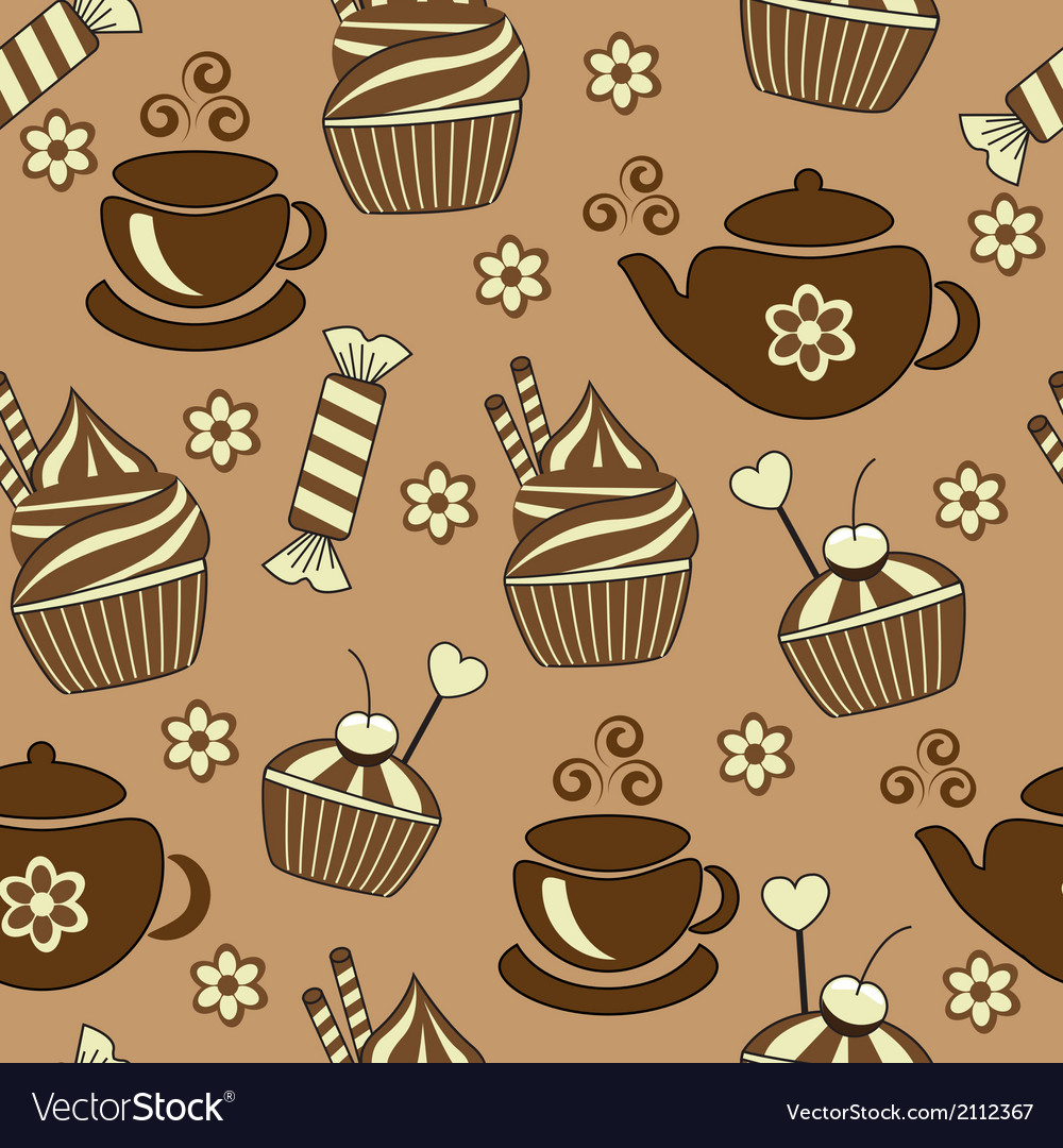Seamless brown background with tea and sweets vector | Price: 1 Credit (USD $1)