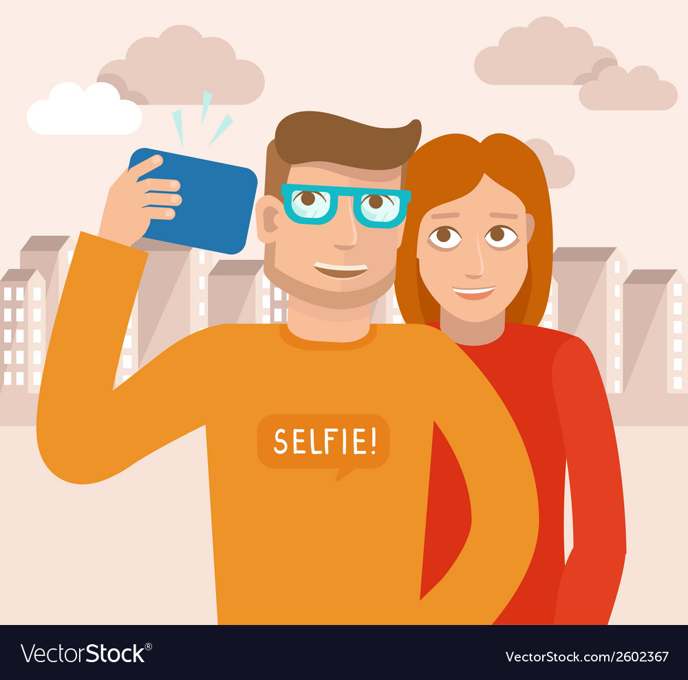 Smiling man and woman vector | Price: 1 Credit (USD $1)