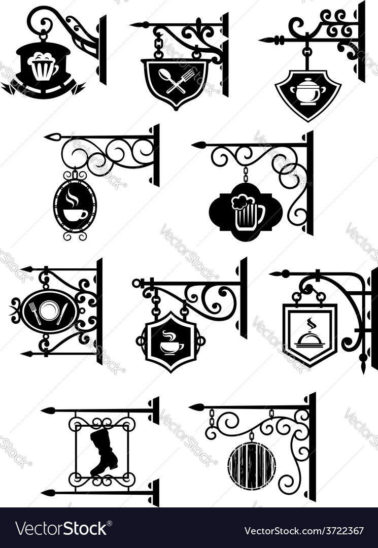 Street signboards with forged brackets vector | Price: 1 Credit (USD $1)