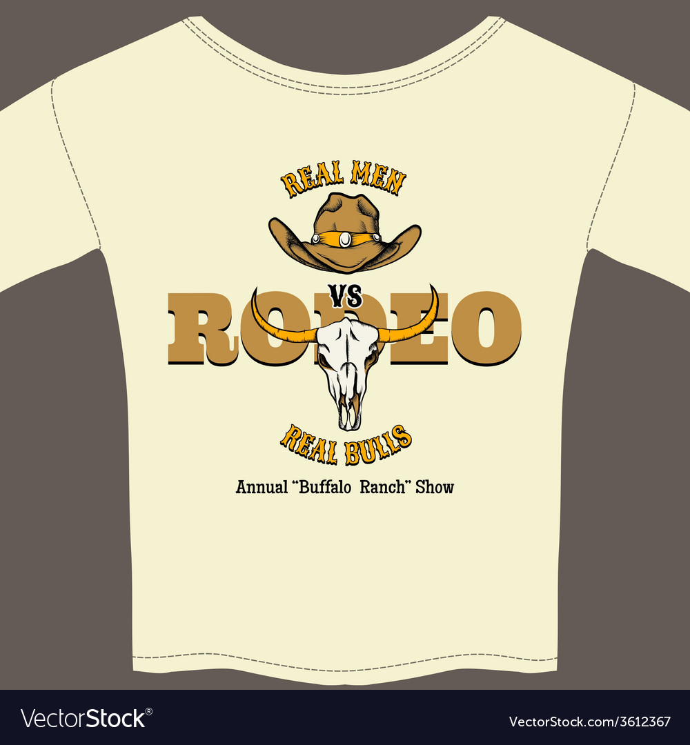 White rodeo tee shirt with graphics vector | Price: 1 Credit (USD $1)