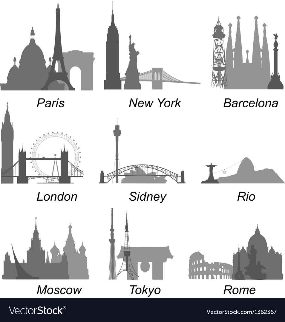 World cities landmarks vector | Price: 3 Credit (USD $3)