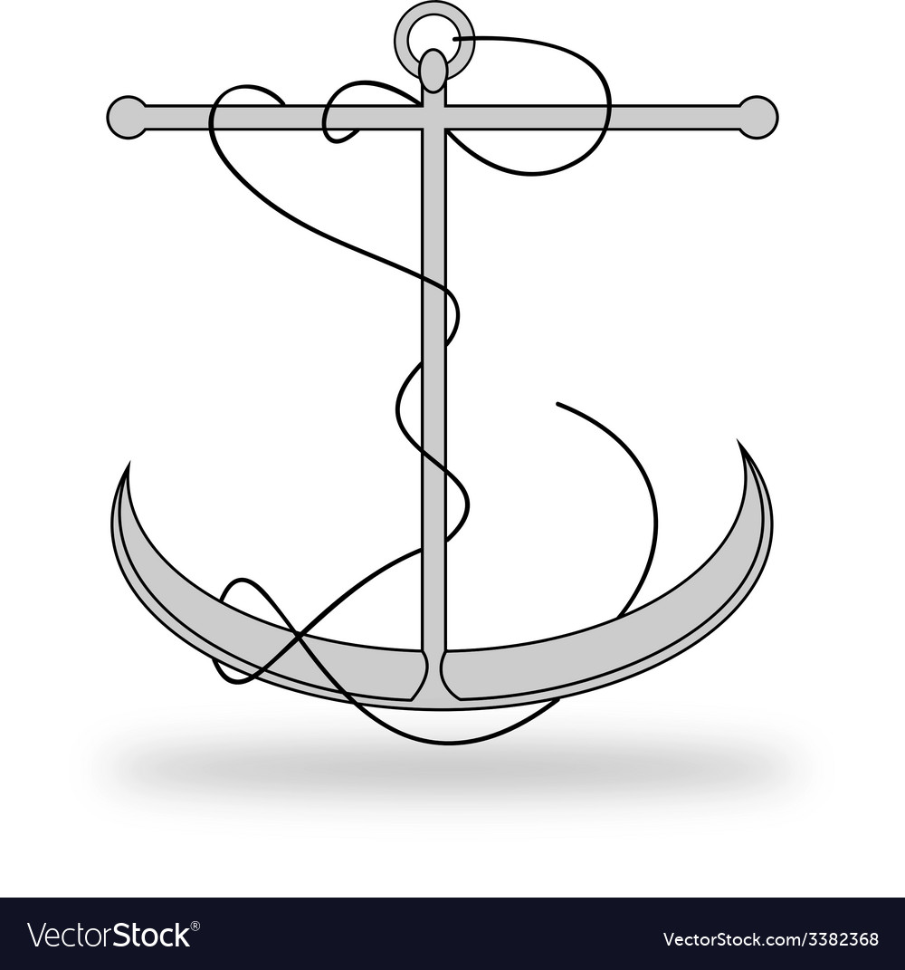 Anchor lineart with rope vector | Price: 1 Credit (USD $1)