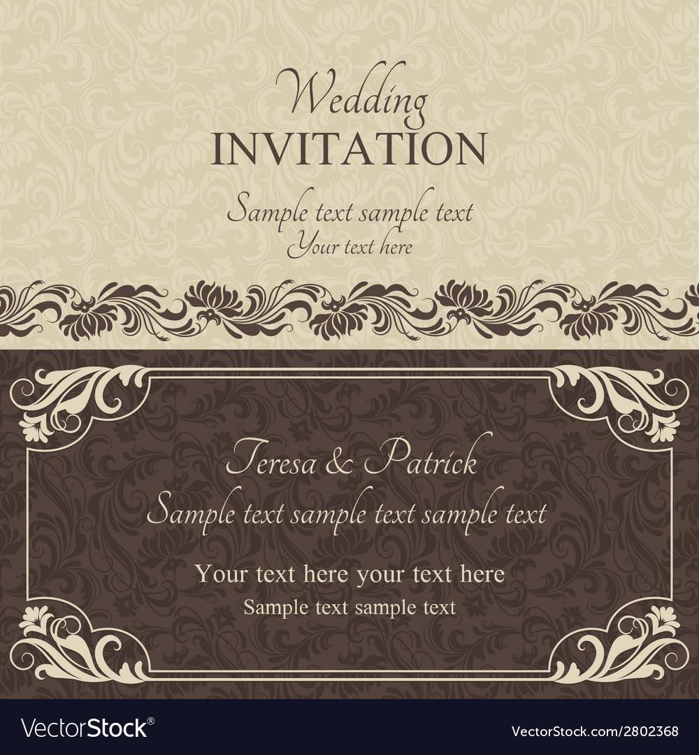 Baroque wedding invitation brown vector | Price: 1 Credit (USD $1)