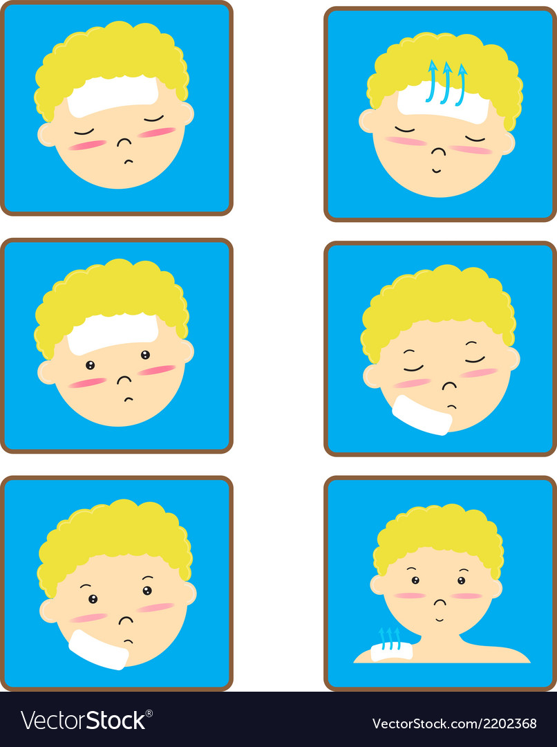 Child fever icon set vector | Price: 1 Credit (USD $1)