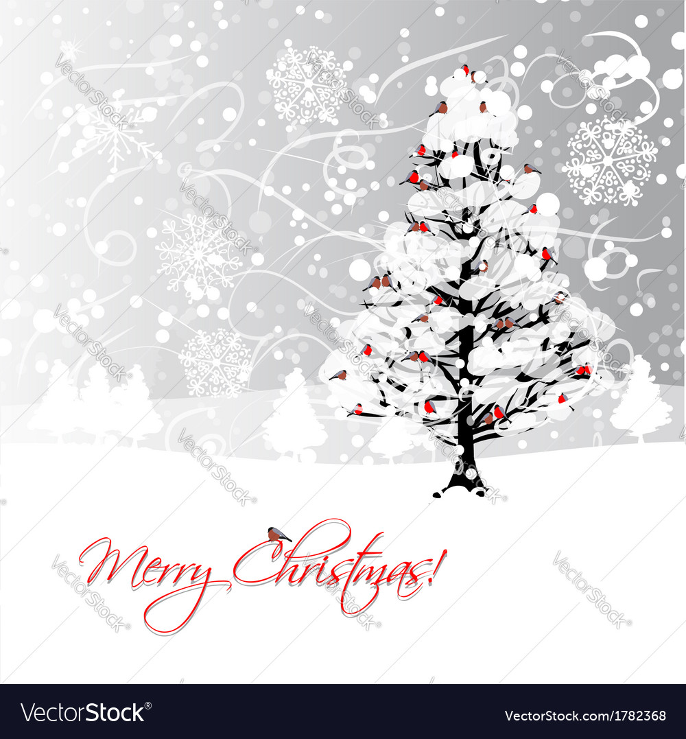 Christmas card design with winter tree and vector | Price: 1 Credit (USD $1)