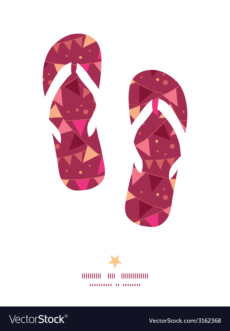 Christmas decorations flags flip flops silhouettes vector | Price: 1 Credit (USD $1)