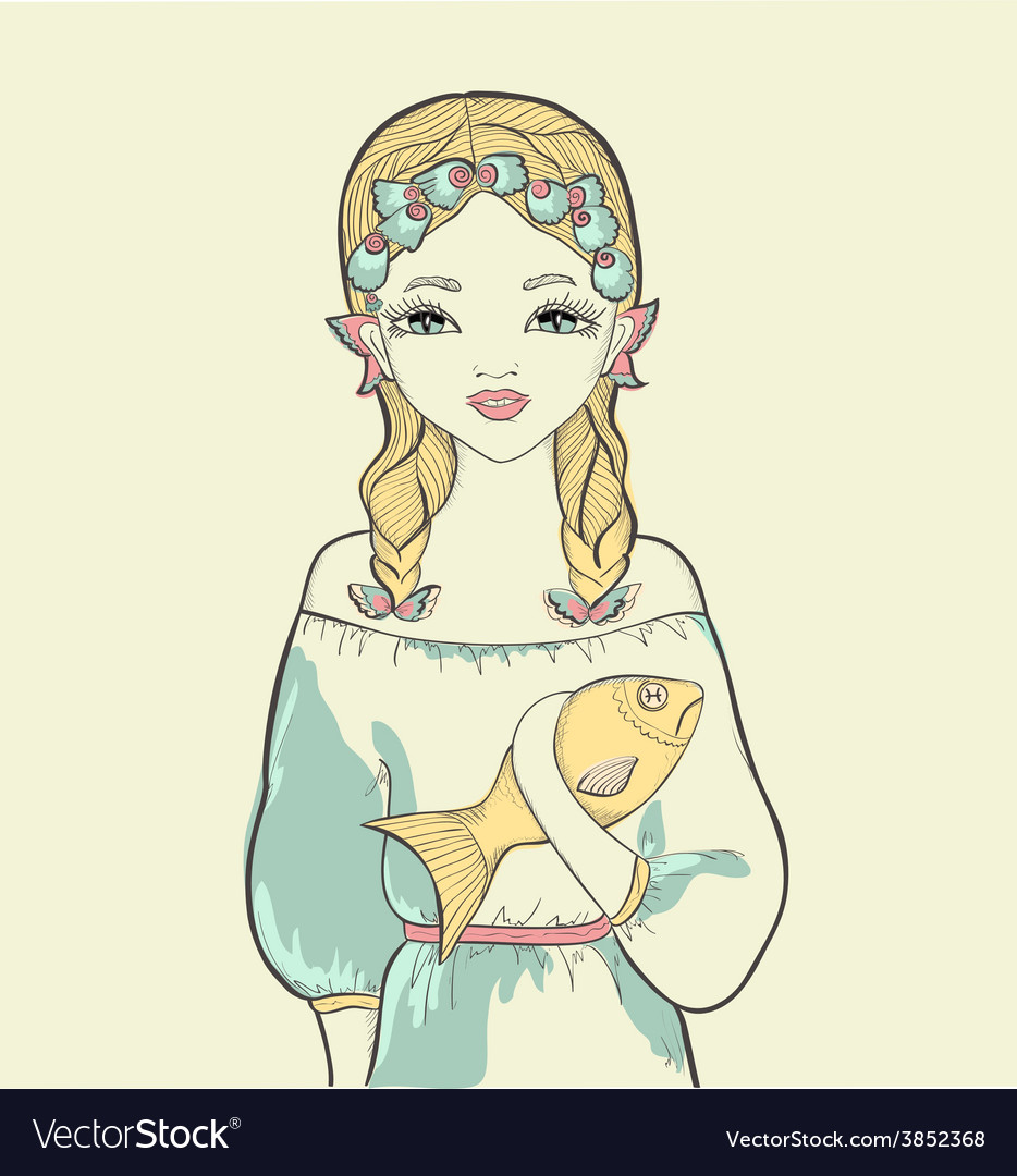 Girl with a fish astrological sign of pisces vector | Price: 1 Credit (USD $1)