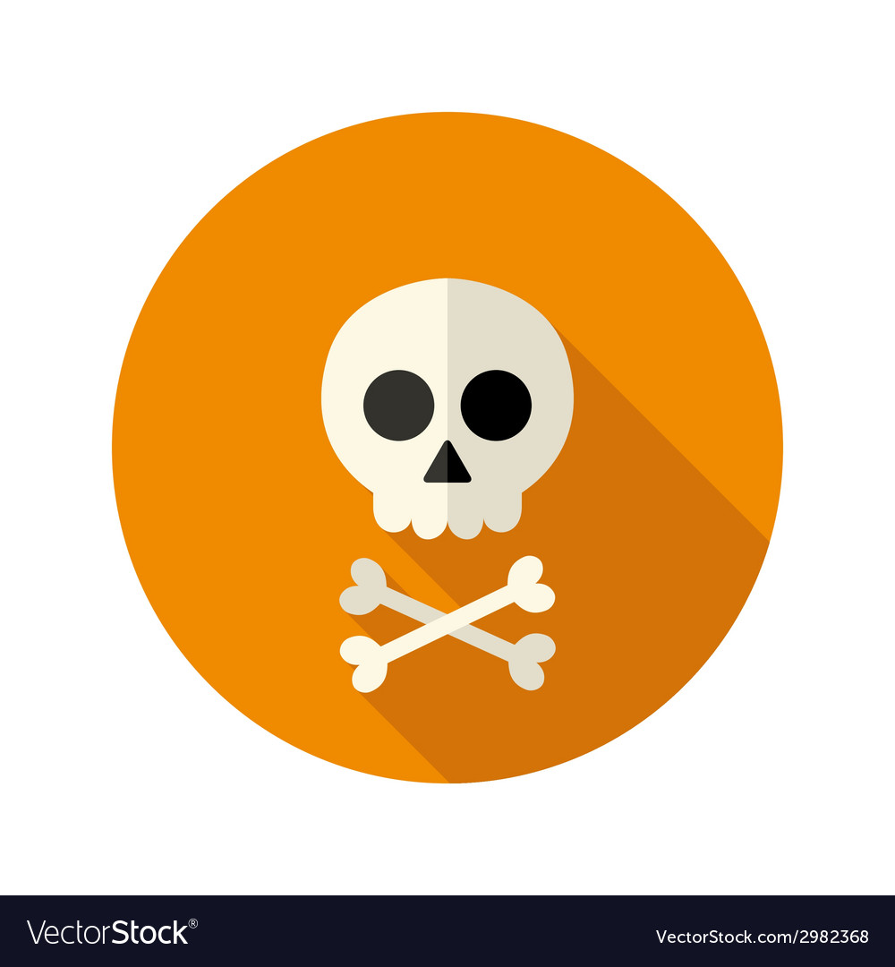 Halloween skull flat circle icon vector | Price: 1 Credit (USD $1)