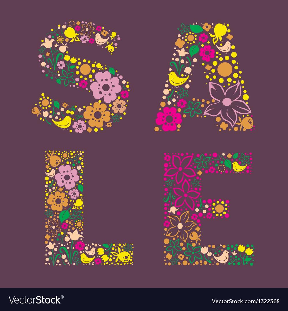 Sale floral banner vector | Price: 1 Credit (USD $1)