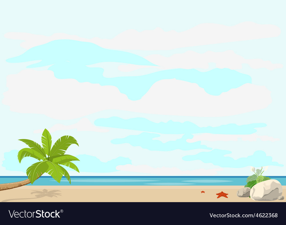 Summer vacation and travel palm tree and starfish vector | Price: 1 Credit (USD $1)