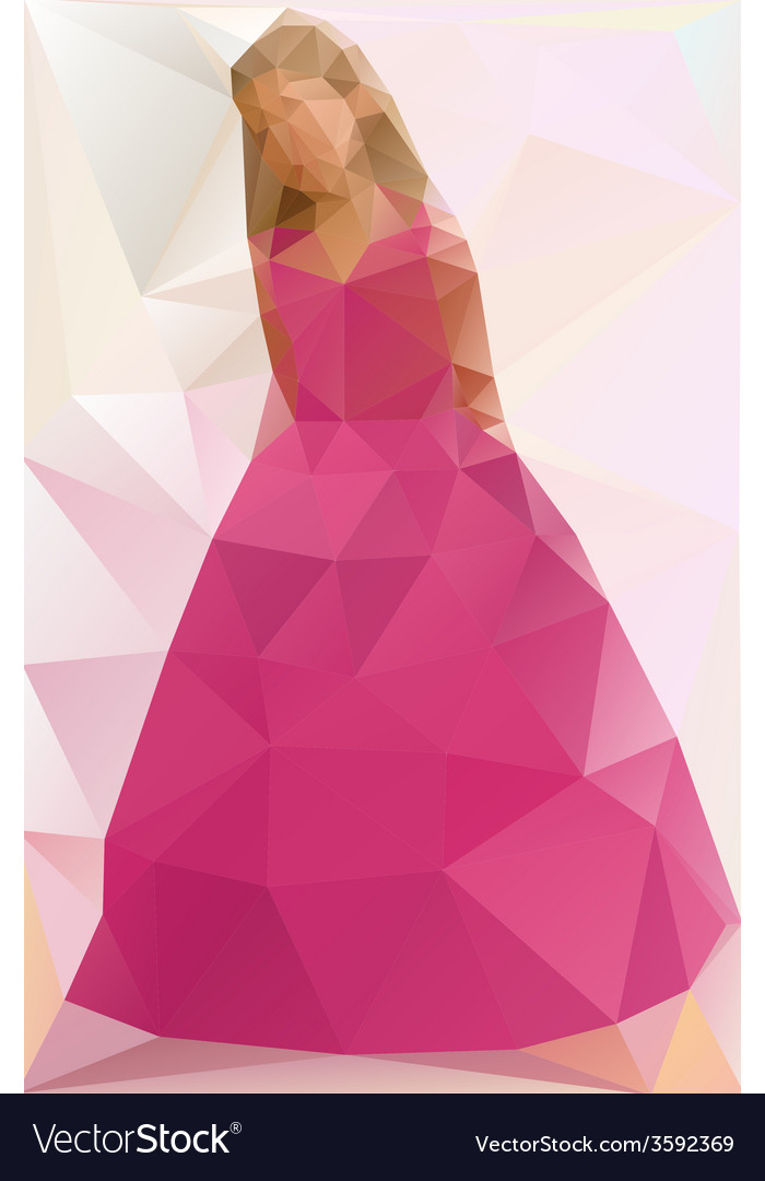 A girl in a dress triangle style vector | Price: 1 Credit (USD $1)