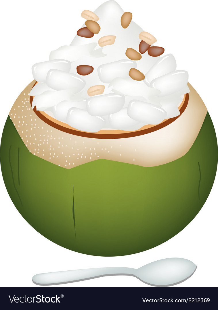 Coconut ice cream with nipa palm seeds and nuts vector | Price: 1 Credit (USD $1)