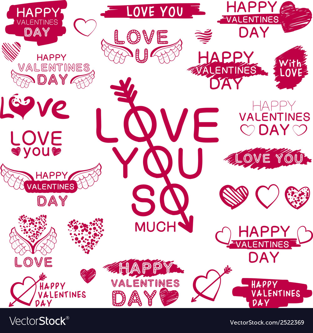 Decorative texts for love confession vector | Price: 1 Credit (USD $1)