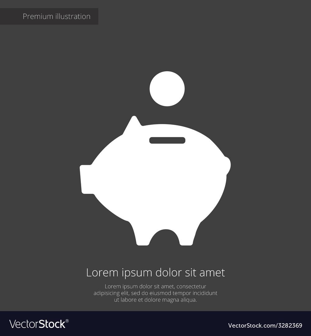 Moneybox piggy premium icon white on dark backgrou vector | Price: 1 Credit (USD $1)