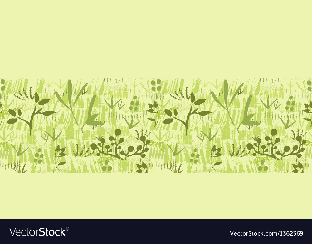 Paint textured green plants horizontal seamless vector | Price: 1 Credit (USD $1)