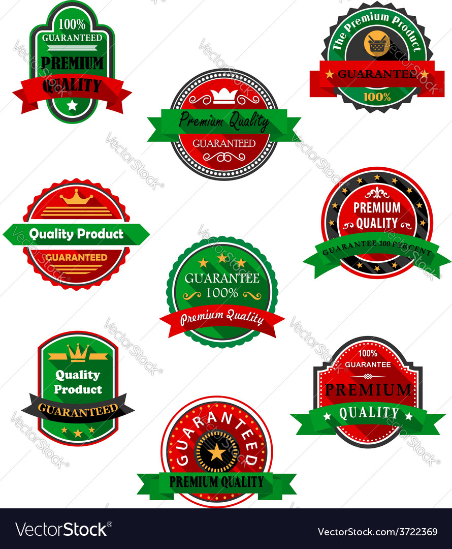 Quality guarantee labels in flat style vector | Price: 1 Credit (USD $1)