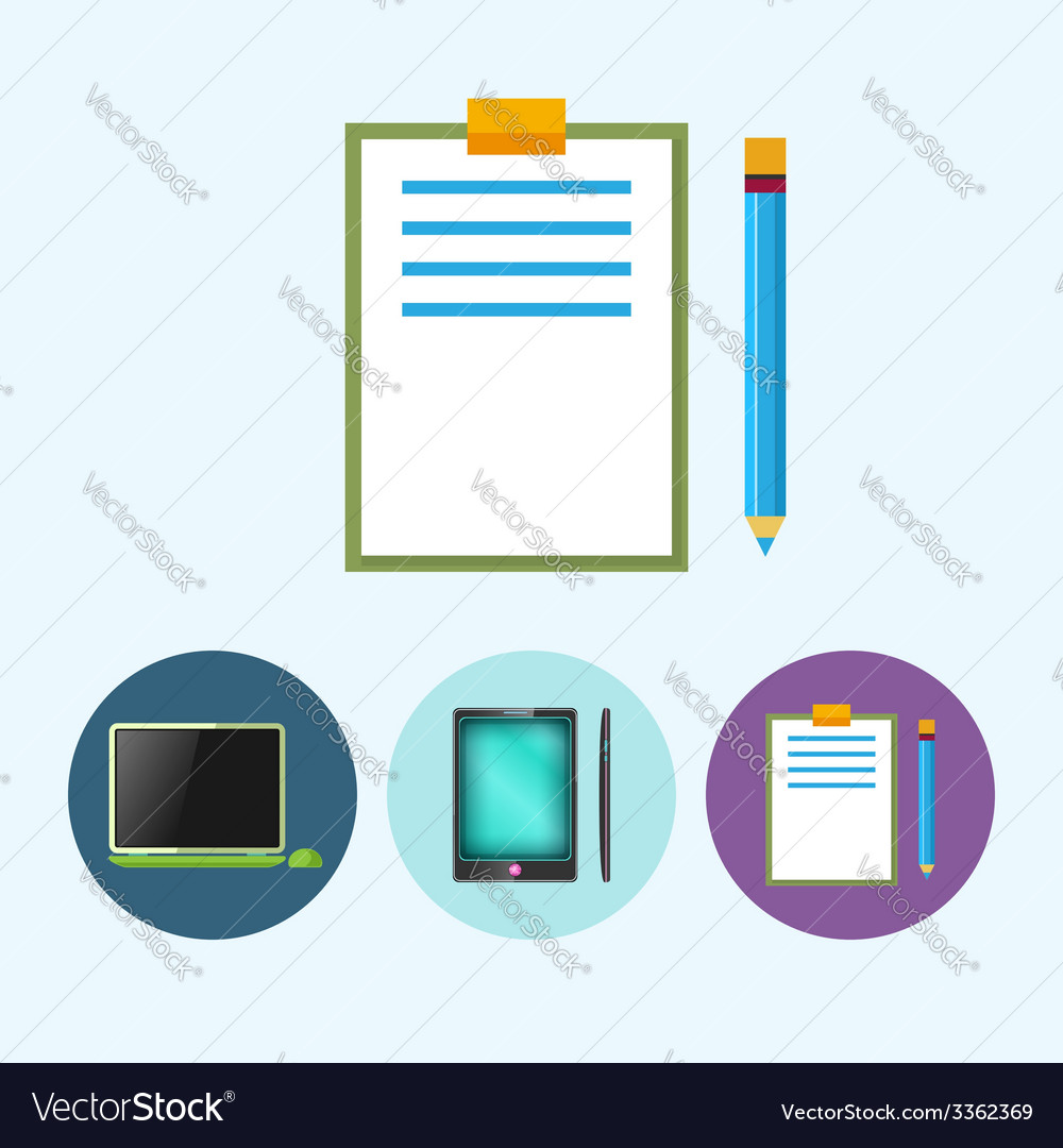 Set icons with laptop phone clipboard vector | Price: 1 Credit (USD $1)