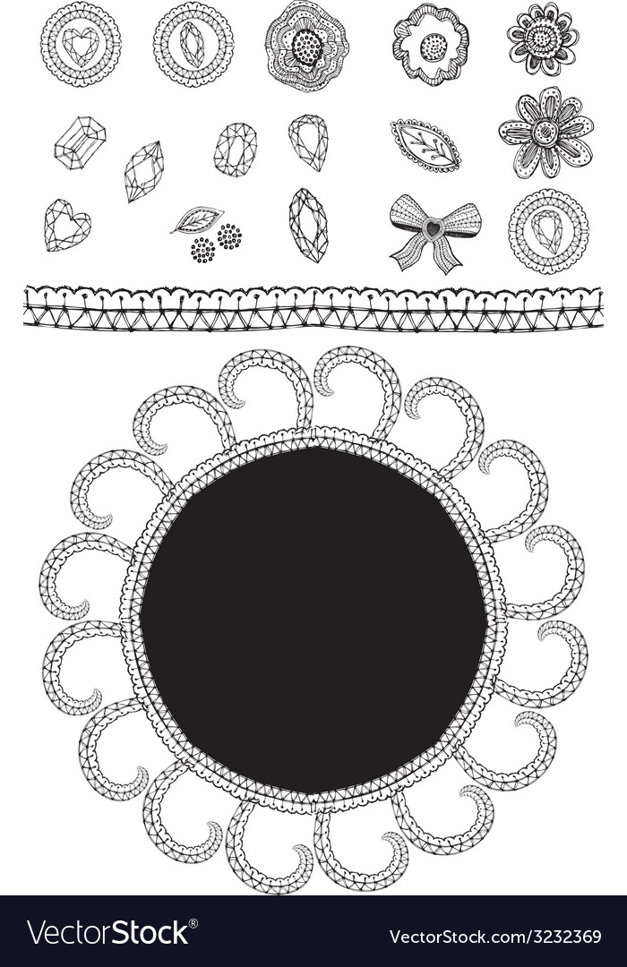 Set of sketch lace diamonds flowers leaves vector | Price: 1 Credit (USD $1)