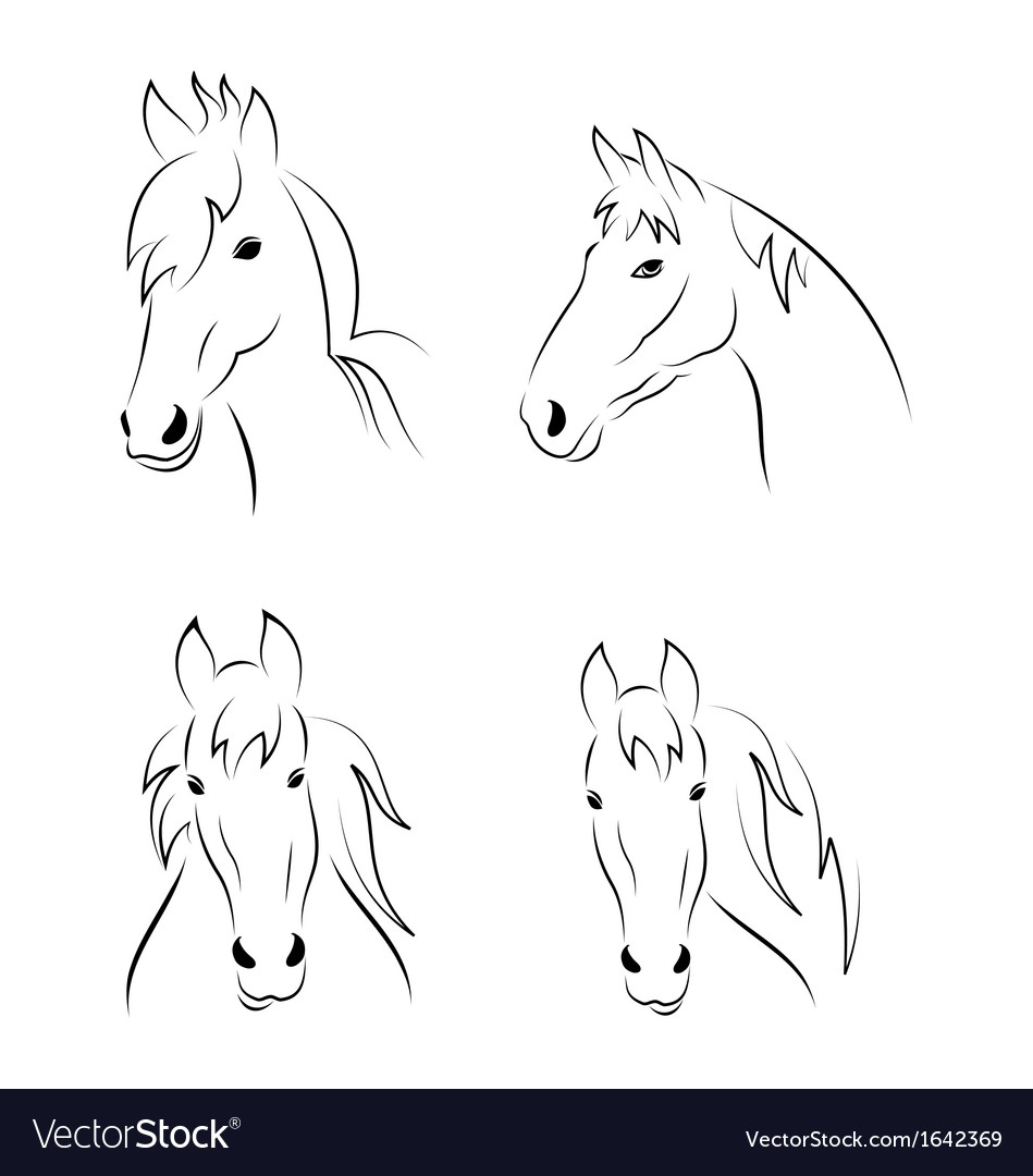 Set symbols outline head horse vector | Price: 1 Credit (USD $1)
