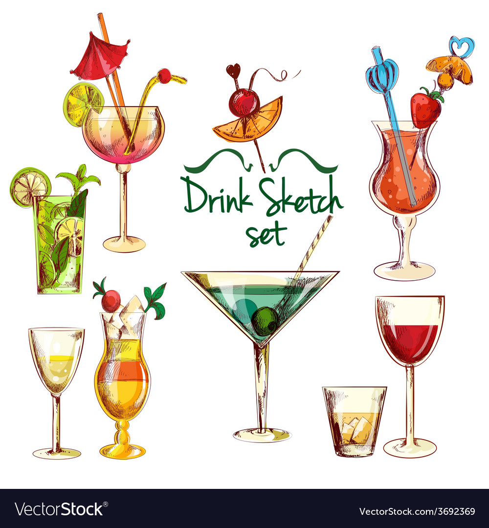 Sketch cocktail set vector | Price: 1 Credit (USD $1)