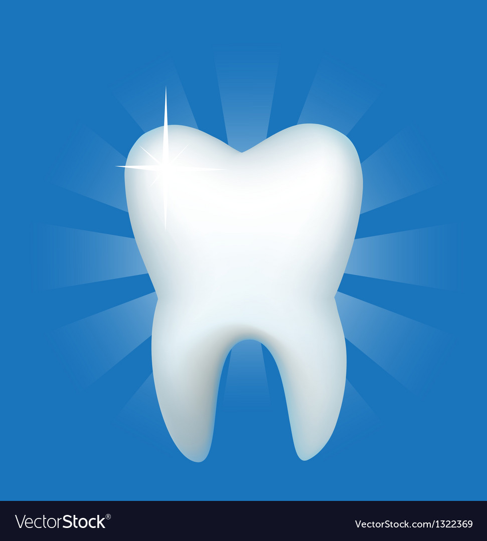 Tooth on a dark blue background vector | Price: 1 Credit (USD $1)