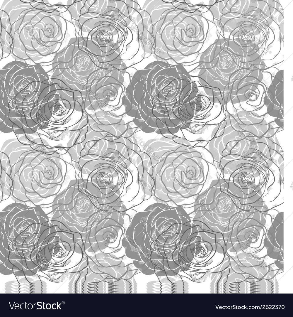 Black and white seamless pattern in roses vector | Price: 1 Credit (USD $1)