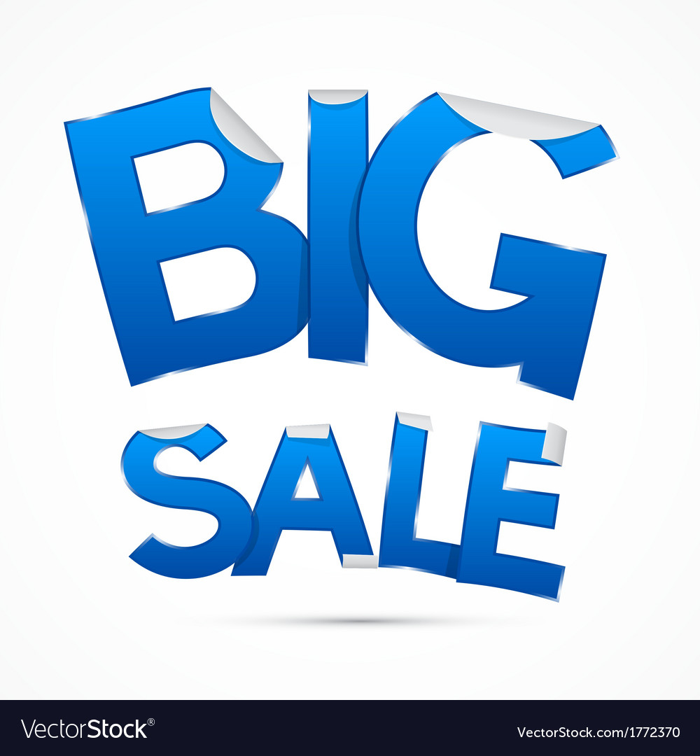 Blue big sale sticker - label on white background vector | Price: 1 Credit (USD $1)