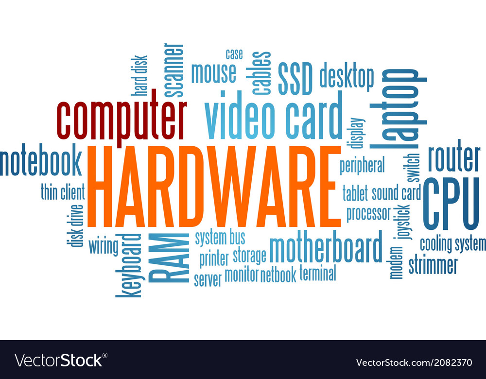 Computer hardware word cloud bubble tag tree vector | Price: 1 Credit (USD $1)