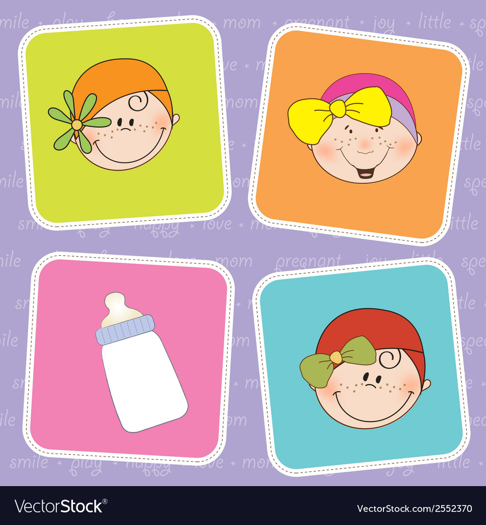 Cute greeting card with small girl vector | Price: 1 Credit (USD $1)