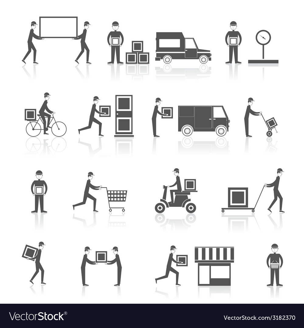Delivery icons black set vector | Price: 1 Credit (USD $1)
