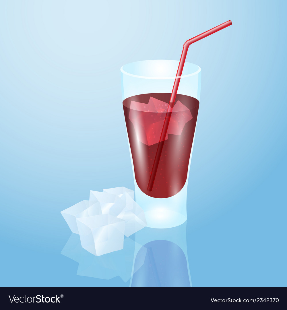 Glass of juice with ice vector | Price: 1 Credit (USD $1)