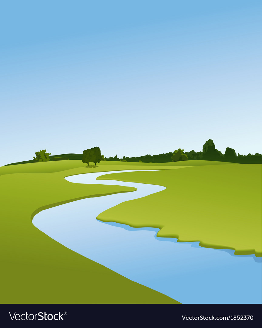 Rural landscape with river vector | Price: 1 Credit (USD $1)