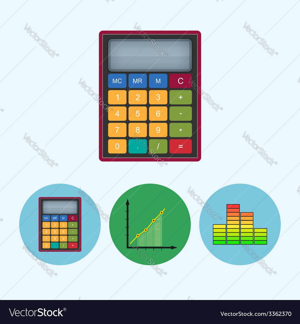 Set icons with calculator indicator chart vector | Price: 1 Credit (USD $1)