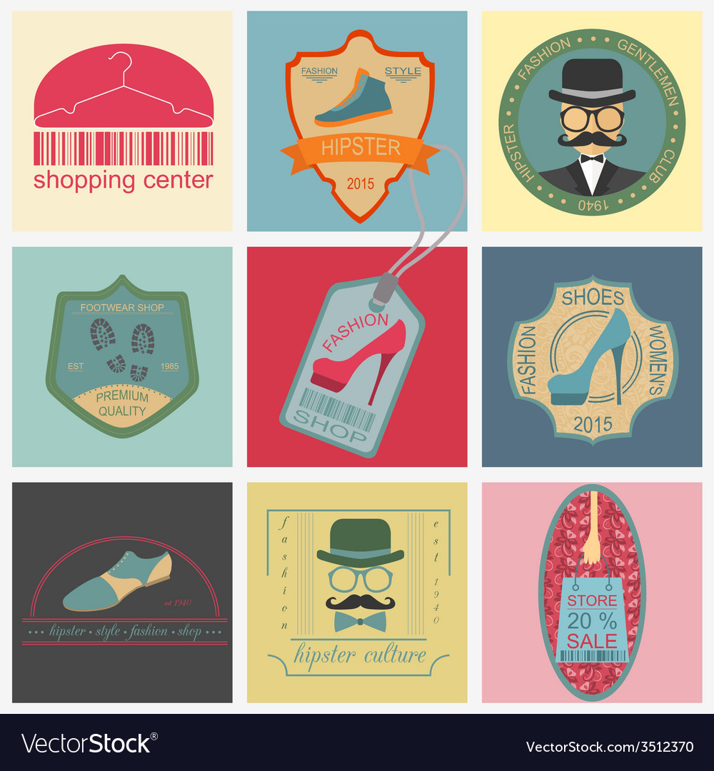 Set of vintage fashion and clothes style logos vector | Price: 1 Credit (USD $1)