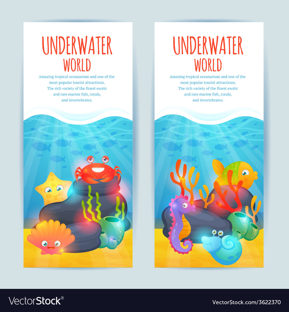 Underwater sea animals vertical banners set vector | Price: 1 Credit (USD $1)