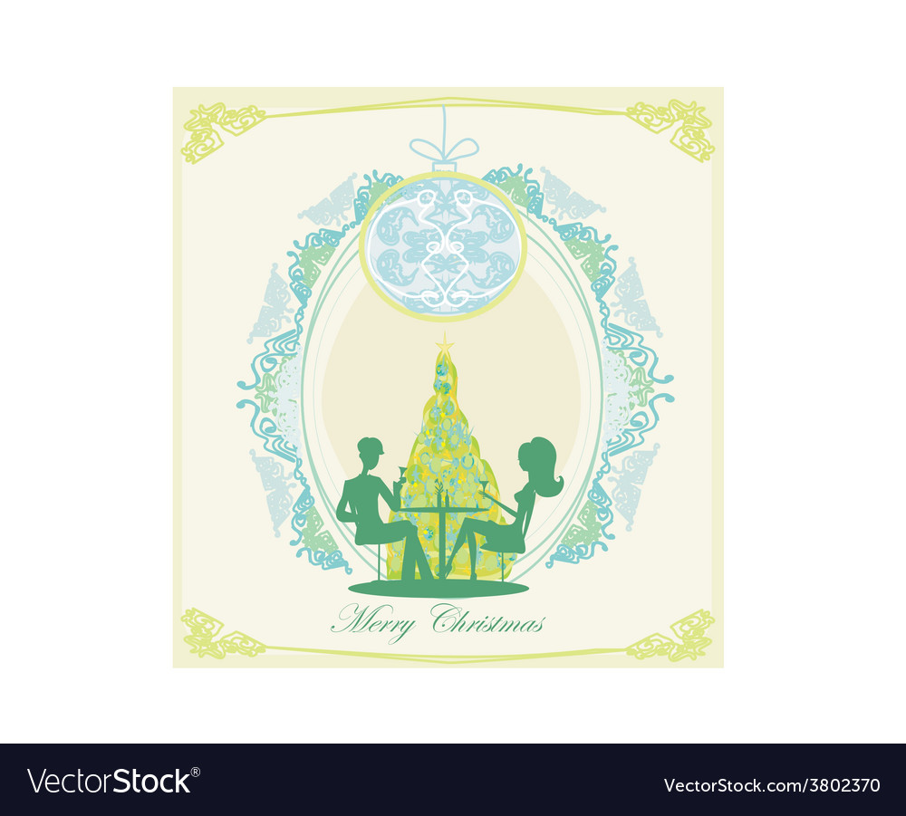 Young couple flirt and drink champagne near by vector | Price: 1 Credit (USD $1)