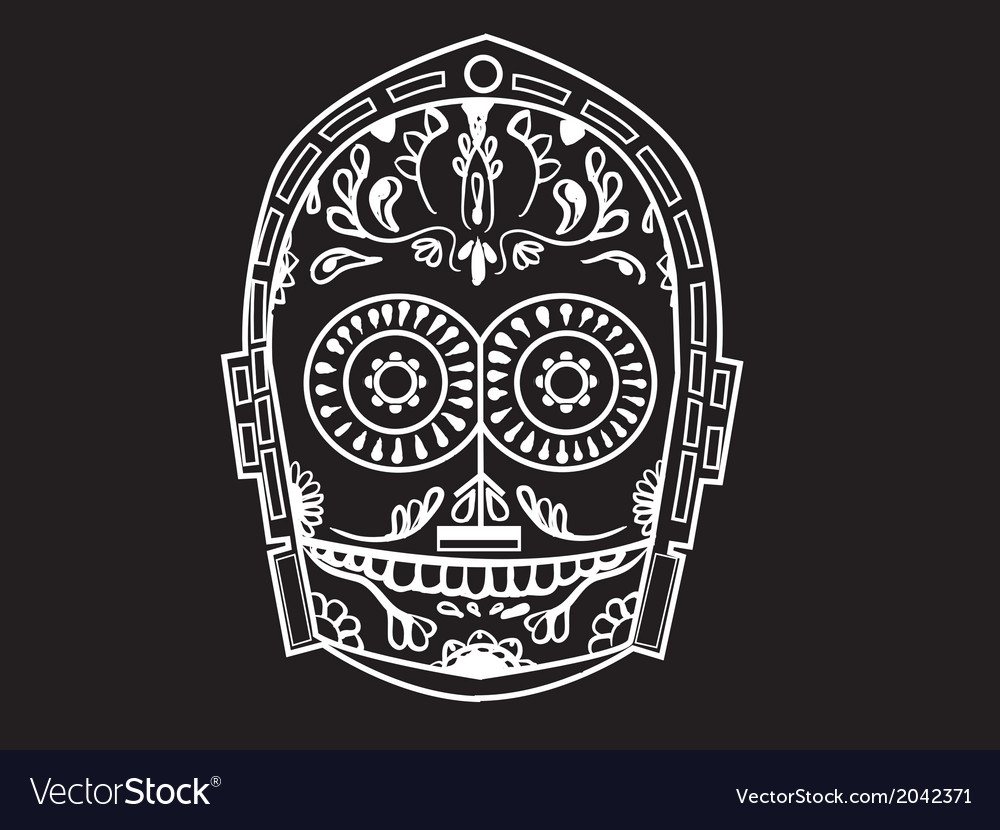 C-3po-calavera-pw vector | Price: 1 Credit (USD $1)